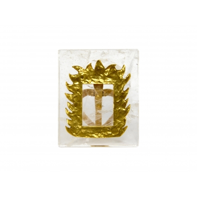 ROBERT GOOSSENS, Photo frame in rock crystal and golden bronze