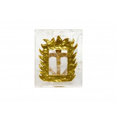 ROBERT GOOSSENS, Porte photo en cristal de roche et bronze doré