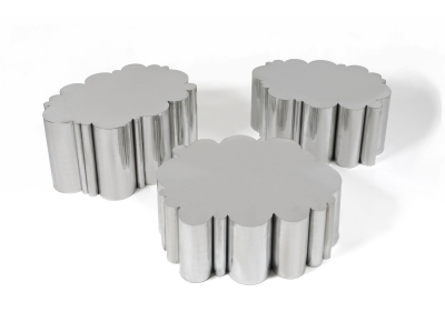 KAM TIN, Cloud tables in polished Aluminium, 2012