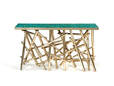 KAM TIN, Console table with a brass base and a turquoise top plate