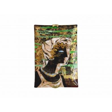 Haïti pour Fontana Arte - Portrait sur plateau en verre peint
