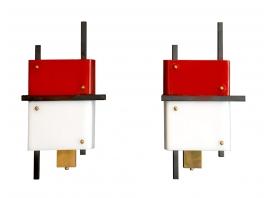 Stilnovo - Appliques en perspex rouge et blanc