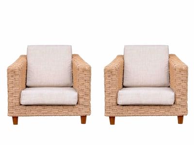 Adrien Audoux et Frida Minet (attribué à) - Paire de fauteuils en cordage