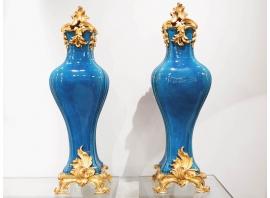 Pair of Qing Vase with gilded bronze - XIXth century