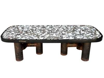 Etienne Allemeersch - Table basse en résine et marqueterie de marbre