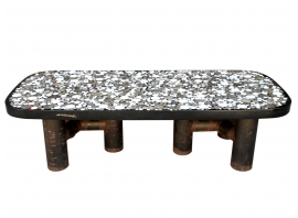 Etienne Allemeersch - Coffee table in resin with marble marquetry