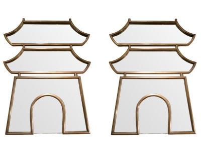 Maison Jansen - Pair of mirrors with pagoda shape