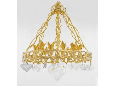 Robert Goossens - Chandelier Heart Chain - Gilded bronze and rock cristal, circa 1980