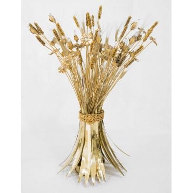 Robert Goossens, Gerbe de blé et de fleurs, Bronze doré, Cristal de Roche, 1974