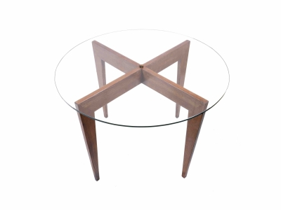 Gio Ponti - Pedestal table in walnut and glass