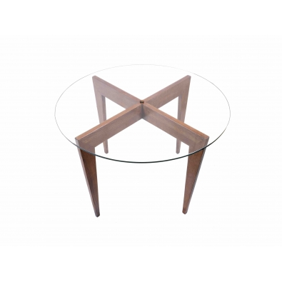 Gio Ponti Pedestal Table In Walnut And Glass Maison Rapin