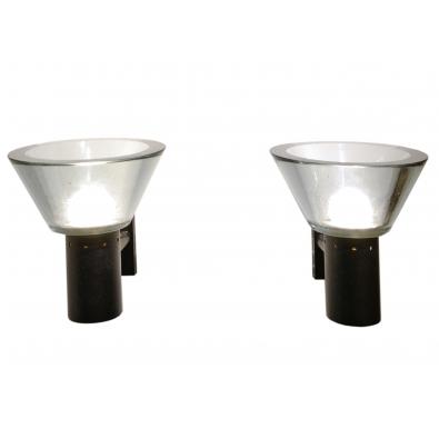 Seguso - Paire d'appliques en verre et métal laqué