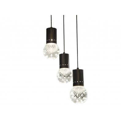 Seguso - Suspension à trois pendants, en verre et métal laqué