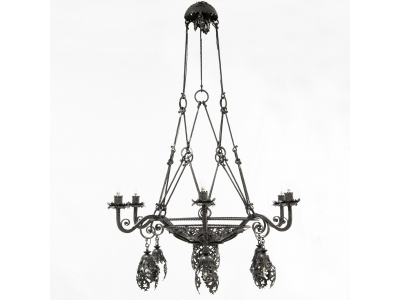 Alessandro Mazzuccotelli - Ceiling light in wrought iron, circa 1910