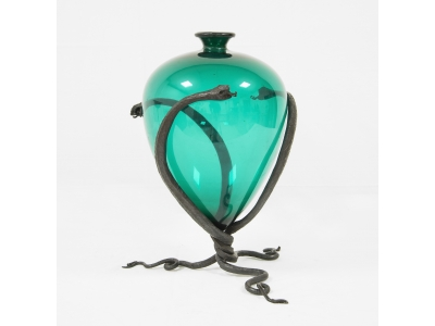 Carlo Rizzarda - Vase en verre et fer battu, circa 1920