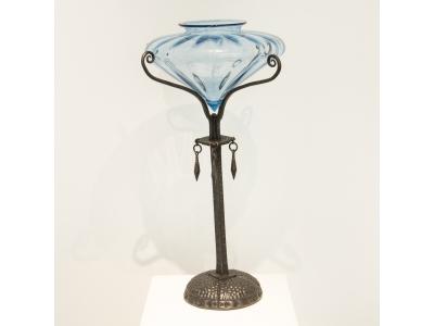 Umberto Bellotto - Coupe en verre soufflé et fer forgé - circa 1920