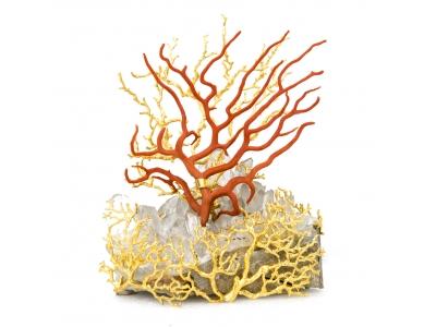 Robert Goossens - Sculpture en corail et cristal de roche - circa 1970
