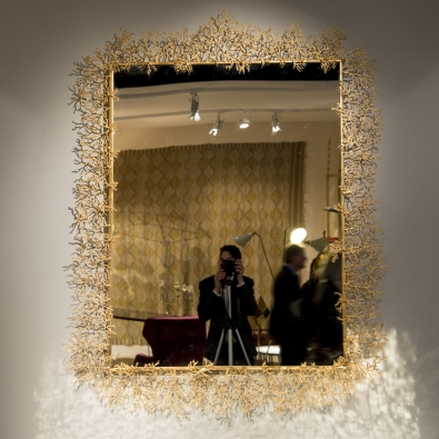 Robert Goossens - Grand miroir corail en bronze doré - 1975