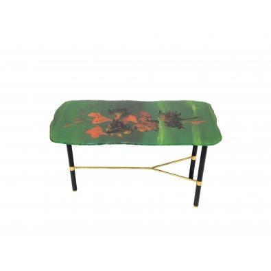FONTANA ARTE, Table basse verte en verre sur trois pieds, 1960