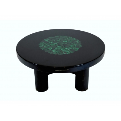 ETIENNE ALLEMEERSCH, Coffe table in black resin and malachite inclusion
