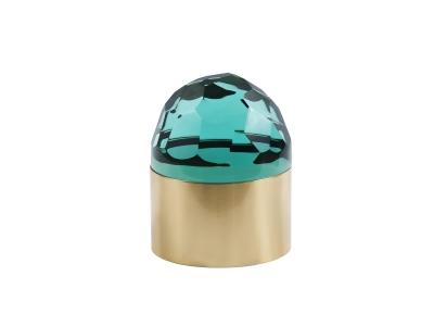 ROBERTO RIDA, Boite ronde en cristal vert taillé et laiton, Italy, 2015