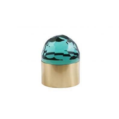 ROBERTO RIDA, Boite ronde en cristal vert taillé et laiton