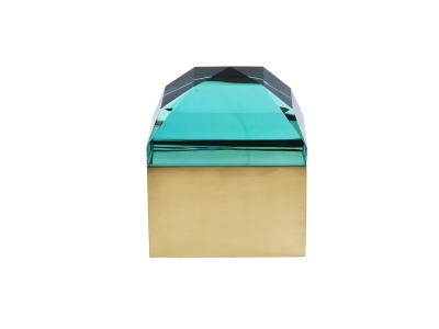 ROBERTO RIDA, Rectangular box in green cut crystal and brass, Italy 2015