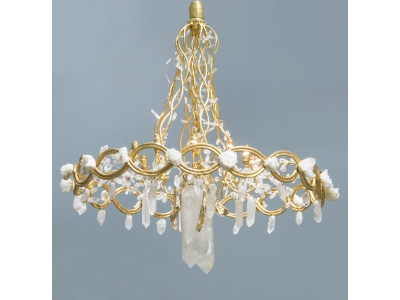 Robert Goossens, Ribbon Chandelier, Gilded bronze and rock crystal, 1985