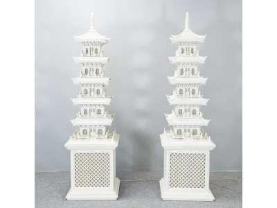Chinese work - Pair of pagoda lamps - circa 1960