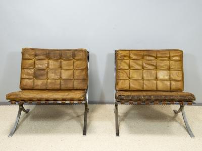 "Ludwig Mies Van Der Rohe - Pair of ""Barcelona"" armchairs - circa 1960"