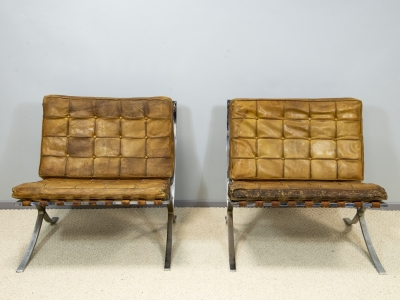 "Ludwig Mies Van Der Rohe - Paire de fauteuils ""Barcelona"" - circa 1960"