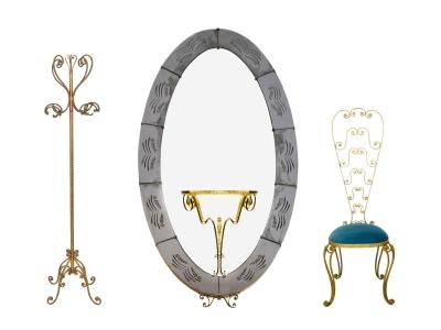 Pier Luigi Colli, Ensemble composé d'un porte-manteau, d'un miroir sur pied et d'une chaise haute en fer battu doré, Circa 1950