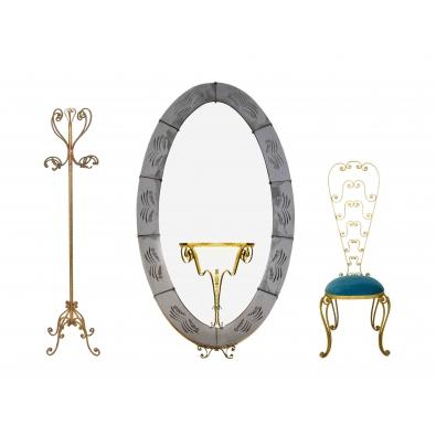 Pier luigi colli ensemble compos d un porte manteau d for Fixer un miroir sur une porte