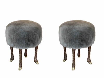 Marc Bankowsky, Pair of stools covered with eco-fur