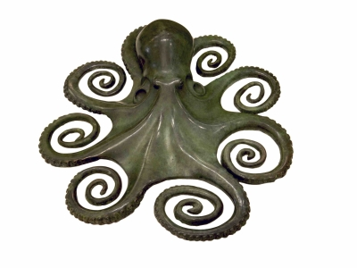 Maurizio Epifani, Octopus in bronze with a green patina, 2015