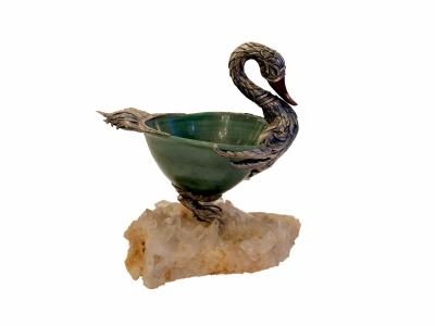 Coupe en forme de cygne en argent, pierres dures et cristal de roche