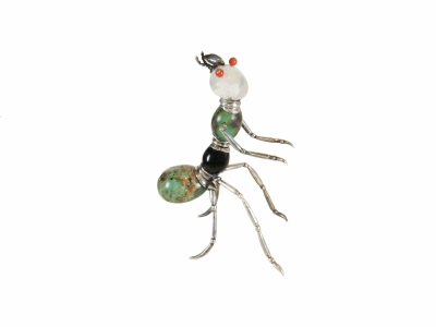 Ant-jewelry in silver, turquoise, onyx, rock crystal, coral