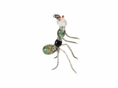 Fourmi-bijoux en argent, turquoise, onyx, cristal de roche, corail