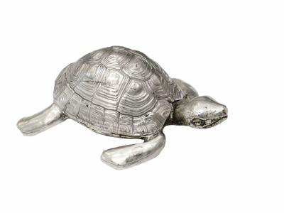 Robert Goossens, Boite-tortue en bronze argenté, Circa 1970