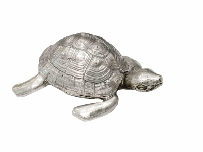 "Robert Goossens, ""Turtle-box"" in silvered bronze, Circa 1970"