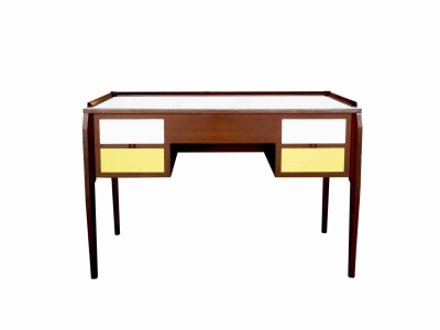 GIO PONTI, Desk in walnut and white and yellow laminate