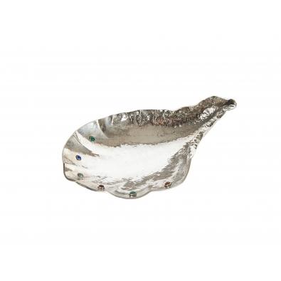 ARRIGO FINZI, coupe en forme de coquillage en argent et cabochons de pierres semi-précieuses