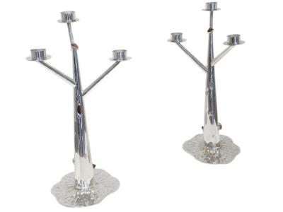 Arrigo Finzi, Paire de chandeliers en argent et pierres semi-précieuses, Années 40