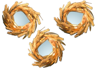 ROBERT GOOSSENS, Mirror with a crown of wheat, 30 cm