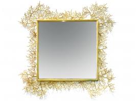 Robert Goossens - Miroir corail carré - Bronze doré