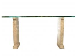 Fontana Arte - Console en verre et travertin