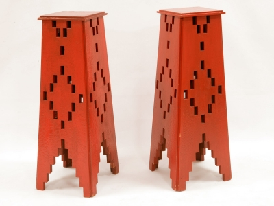 Italian pair of red stands in wood - Liberty period