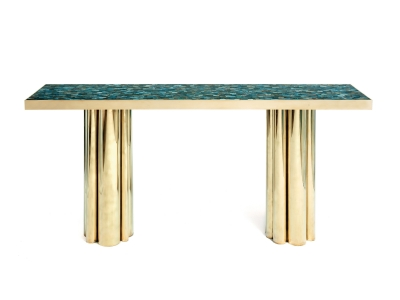 KAM TIN - Console table with a base of golden brass columns and agate top plate - 2012