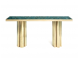 KAM TIN, Console table with a base of golden brass columns and agate top plate